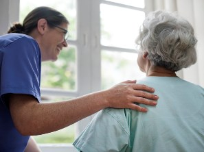 Mobile Alabama nurse talking to a senior patient